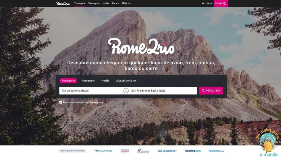 Aplicativo Rome2Rio quanto custa viajar para Portugal